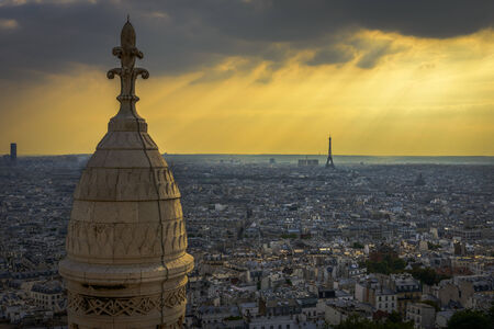 Aerial View of Paris showing Eiffel Tower, Opera House, Les Invalides from Sacre-Cœur photo