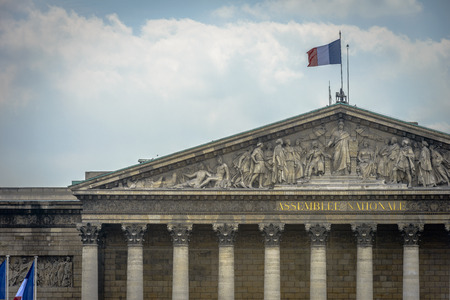 nationale: Architectural Detail of Assemblee Nationale in Paris, France
