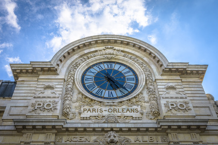 Orsay Museum in Paris with famous clock where you can see Sacre Coeur from inside 版權商用圖片