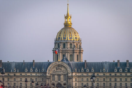 Les Invalides just before sunset in Paris, France