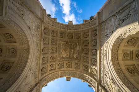 carrousel: Details from the ceiling of the Arc de Triomphe du Carrousel in Paris, France.