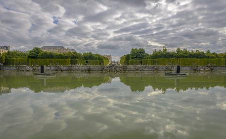 View of Versailles Chateau, gardens, famous fountains near\ Paris, France