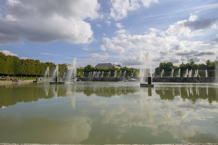 louis the rich heritage: View of Versailles Chateau, gardens and famous fountains near Paris, France