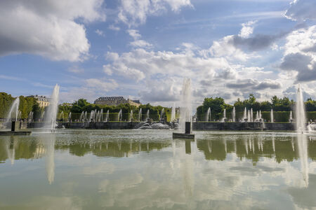 louis the rich heritage: View of Versailles Chateau, gardens, famous fountains near Paris, France
