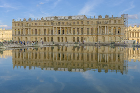 louis the rich heritage: versailles Chateau fountain view near Paris, France Editorial