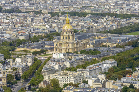 Aerial view of Les Invalides taken  from Montparnasse Tower in Paris, France
