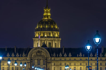 Closeup of Les Invalides at night in Paris, France