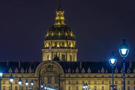 Closeup of Les Invalides at night in Paris, France