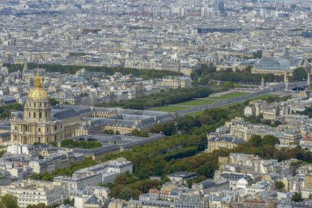 Aerial view of Les Invalides and Pont Alexandre III taken from Montparnasse Tower in Paris, France photo