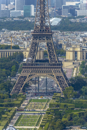 Aerial view of Eiffel Tower and La Defense business district taken from Montparnasse Tower in Paris, France