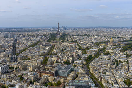 Aerial view of Paris taken from Montparnasse Tower, you can see several landmarks including Eiffel Tower. photo