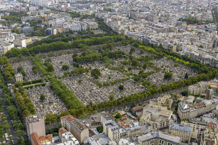 Aerial view of Pere Lachaise Cemetery taken from Montparnasse Tower in Paris, France photo