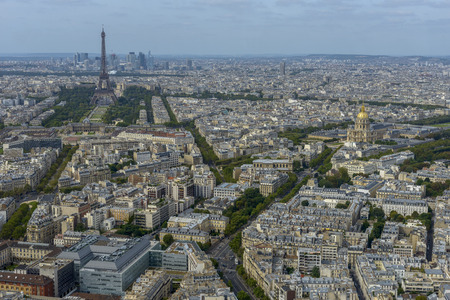 Aerial view of Paris taken from Montparnasse Tower, you can see several landmarks including Eiffel Tower.