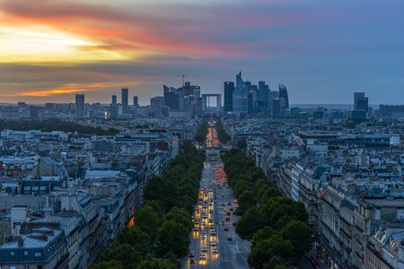 La Defense at sunset as seen from the Arc de Triomphe