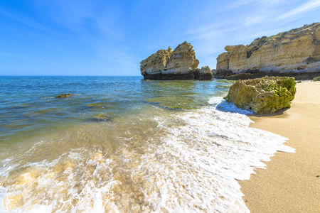 Beach view in a summer day in Albufeira, Portugal