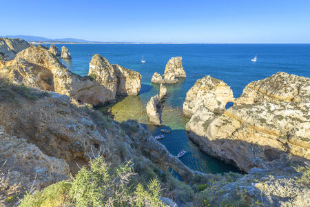Rocky Coast of Santa Maria, Lagos, Portugal 版權商用圖片