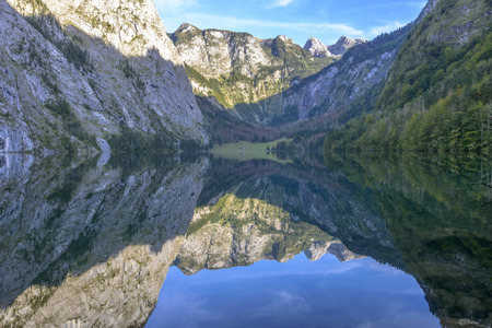 The beautiful Obersee (upper lake) nearby the popular Bavarian Konigssee (kings lake) in Germany