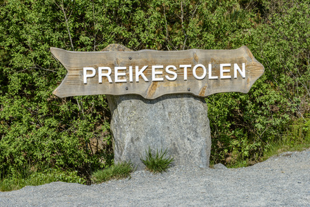 steep cliffs sign: Preikestolen (Pulpit Rock) Sign in Norway