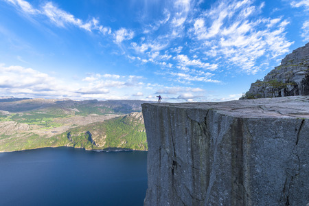 Famous Pulpit Rock in Spring in Norway photo