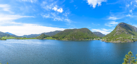 beautiful Norway scenery in a sunny spring day photo