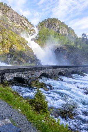 Latefossen (Latefoss) - one of the biggest waterfalls in Norway, Scandinavia, Europe photo