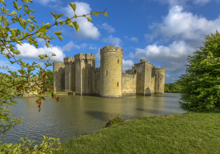 turrets: Historic Bodiam Castle and moat in East Sussex, England
