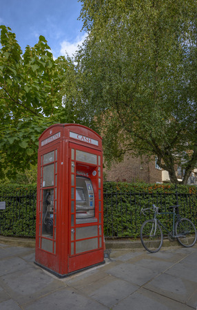 chelsea market: Typical Red Phone booth in Notting Hill, London Stock Photo