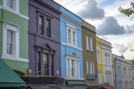 chelsea market: Pastel houses, Notting Hill - London, England Editorial