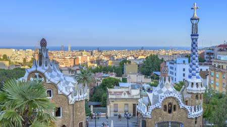 The stunningly vibrant colours and twisting shapes of the Spanish architect Gaudi's famous Parc Guell in Barcelona, Spain