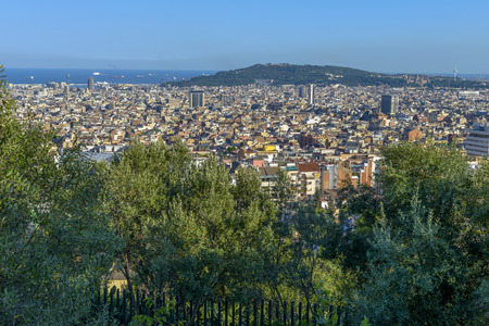 Barcelona by day seen from Parc Guellinclude sagrada familia, agbar tower, scyscrapers, la rambla and other Stockfoto