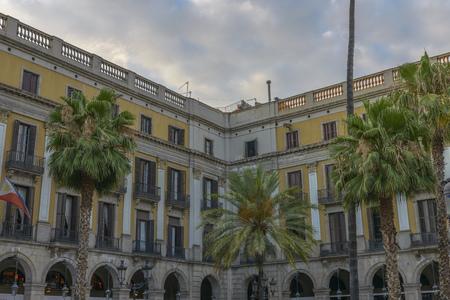 Famous historic Plaza Real in Barcelona, Catalonia, Spain