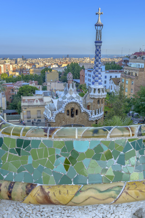 pablo picasso: The stunningly vibrant colours and twisting shapes of the Spanish architect Gaudis famous Parc Guell in Barcelona, Spain