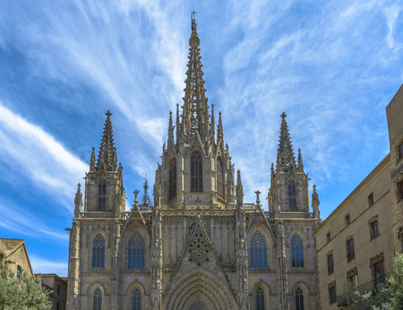 The Cathedral of the Holy Cross and Saint Eulalia in Barcelona, Catalonia, Spain Stockfoto