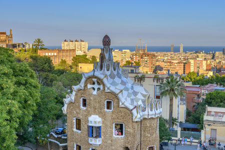 vibrant colours: The stunningly vibrant colours and twisting shapes of the Spanish architect Gaudis famous Parc Guell in Barcelona, Spain