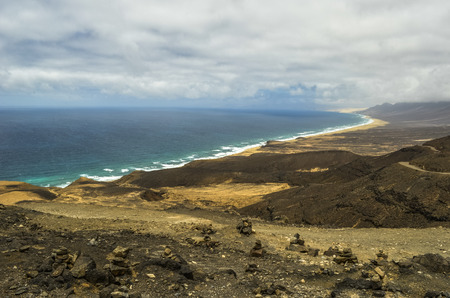 Aerial View of Cofete Beach in Fuerteventura, Canary Islands, Spain Stockfoto