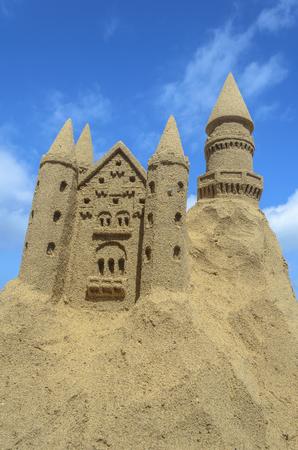 Sandcastle at a beach in Fuerteventura, Canary Islands, Spain Stockfoto