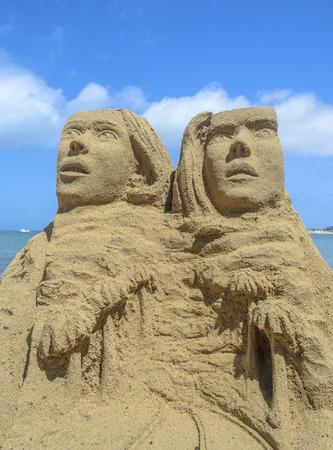 Sand statue at a beach in Fuerteventura, Canary Islands