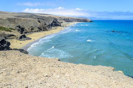 Aerial View of a Beach in Fuerteventura, Canary Islands, Spain