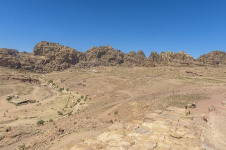Rocky desert landscape of Petra, Jordan in a sunny day