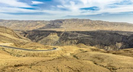 Desert Landscape near Mount Nebo in Jordan. Stockfoto