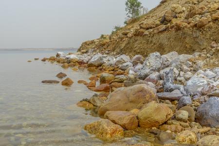 View of Dead Sea coastline in Jordan.