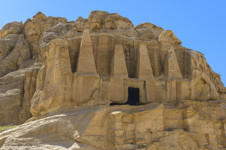 Rock cut tombs in the ancient nabatean city of Petra in Jordan