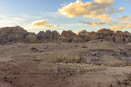 Mountains view in Petra in Jordan at sunset
