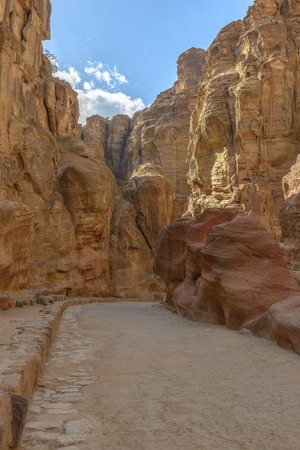 siq: The Siq, the narrow canyon that serves as the entrance passage to the hidden city of Petra, Jordan.