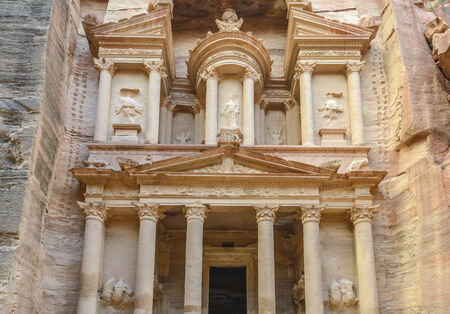 The Treasury in the  Ancient city of Petra carved out of the rock, Jordan