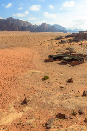 Bedoeïenentent in de woestijn van Wadi Rum, Jordanië Stockfoto - 35597271
