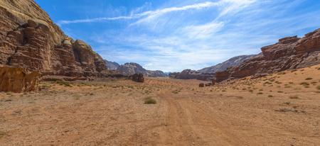 Wadi Rum desert in a sunny day in Jordan Stock Photo