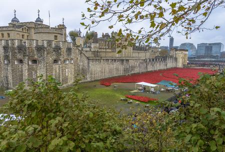 Londen, Verenigd Koninkrijk - 16 november 2014: Bijna 900.000 keramische klaprozen zijn geïnstalleerd in The Tower of London om de betrokkenheid van Groot-Brittannië in de Eerste Wereldoorlog te herdenken Stockfoto - 37548918