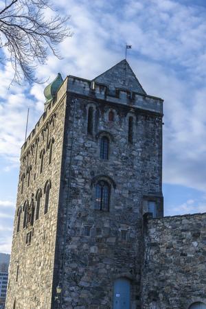 Sluit aan Hakon's Hall vindt u de Rosenkrantz toren, die wordt beschouwd als een van de belangrijkste renaissance monumenten in Noorwegen vinden Stockfoto - 38759847