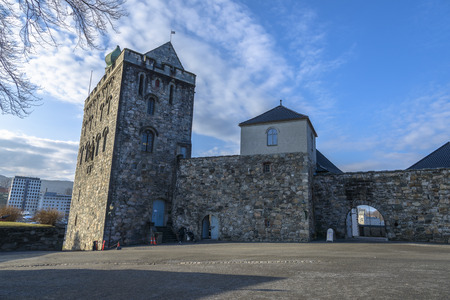 Sluit aan Hakon's Hall vindt u de Rosenkrantz toren, die wordt beschouwd als een van de belangrijkste renaissance monumenten in Noorwegen vinden Stockfoto - 38763867